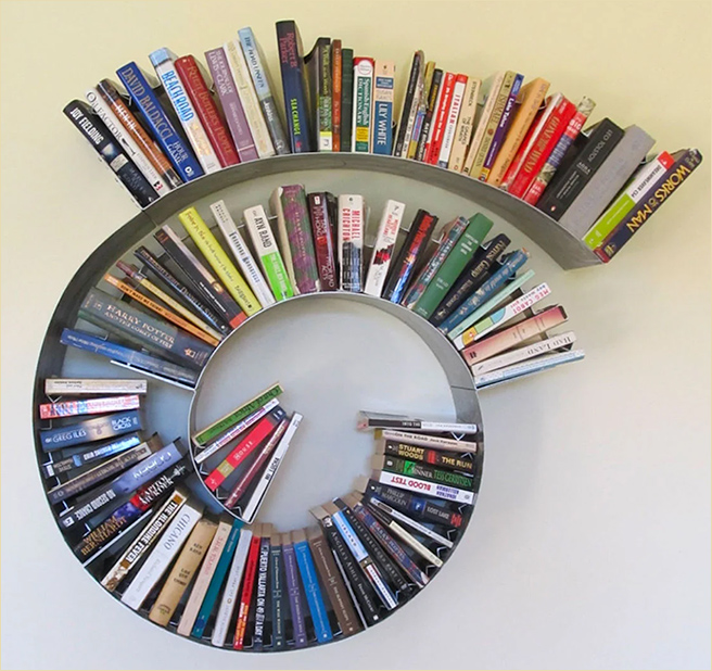 Arc, Spiral, and Curve Bookshelves -- from theawesomer.com by Brianna Kufa