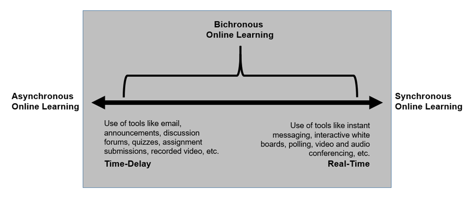 Bichronous Online Learning: Blending Asynchronous and Synchronous Online Learning