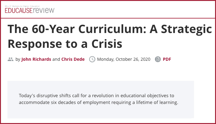 The 60-Year Curriculum: A Strategic Response to a Crisis