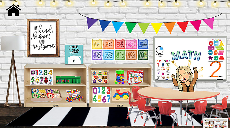 A snapshot of a Bitmoji Classroom created by Emily Clay