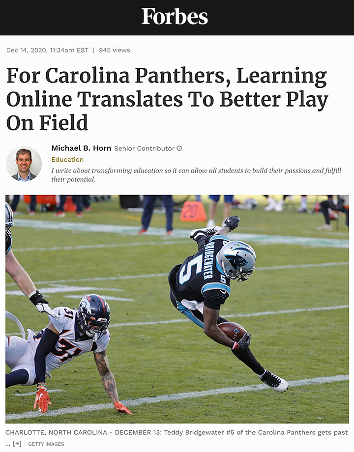 For Carolina Panthers, Learning Online Translates To Better Play On Field