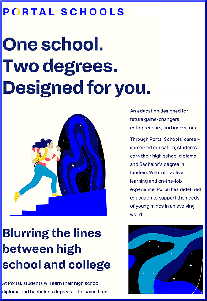 Portal Schools: One school. Two Degrees. Designed for you.