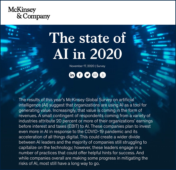 The State of AI in 2020 -- from McKinsey and Company