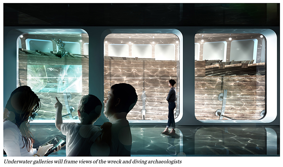 Underwater galleries will frame views of the wreck and diving archaeologists