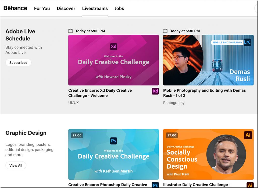 Adobe -- via Behance -- offers some serious streams of content
