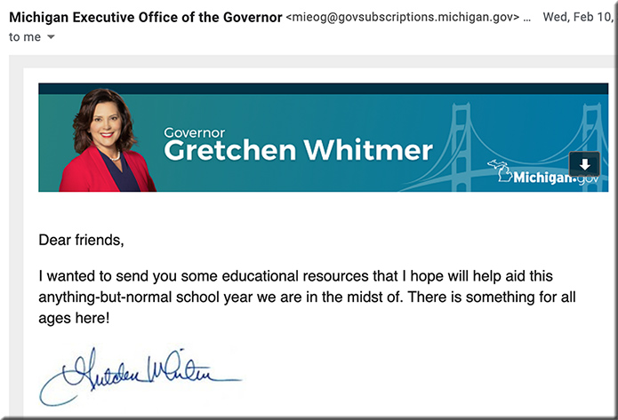 MI Governor Gretchen Whitmer's email from