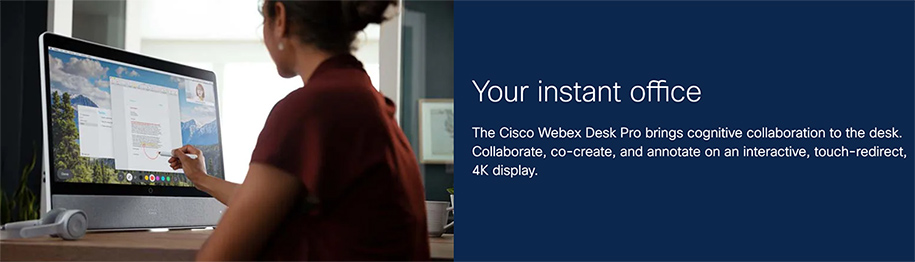 Woman using the Cisco Webex Desk Pro