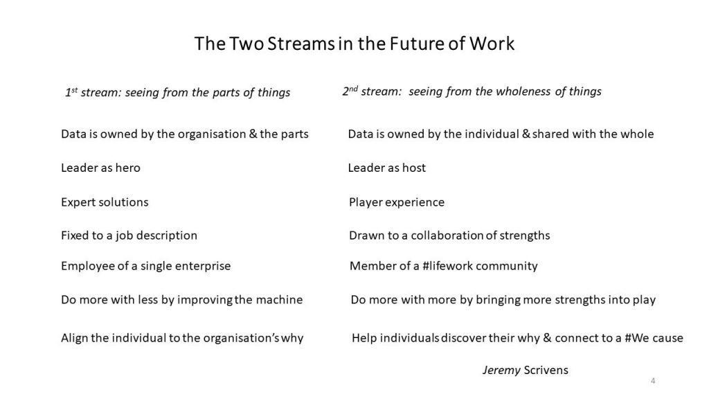 The two streams in the future of work -- reflections by Jeremy Scrivens by comparing first streams with second streams
