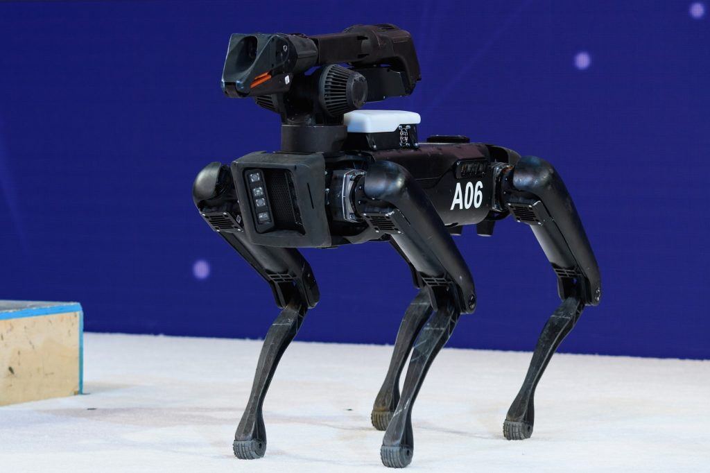 A robot dog is pictured here.