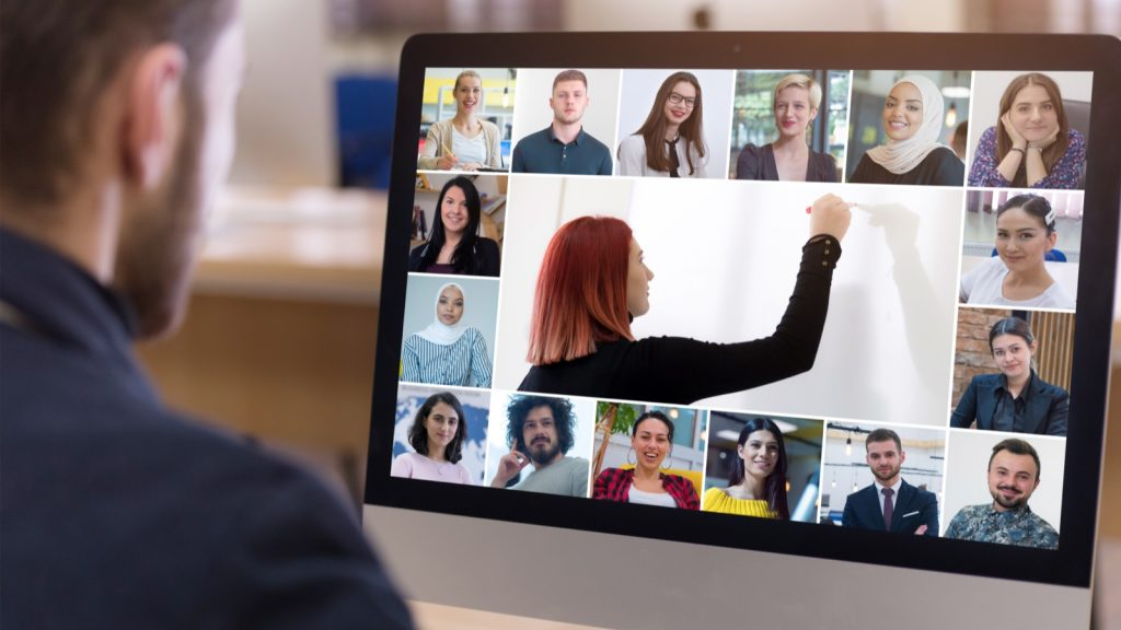 Videoconferencing -- a professor teaching a class of virtual students