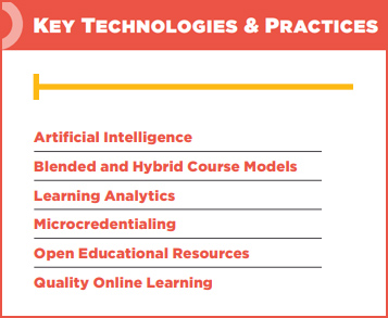 This image relays some of the key technologies and practices such as AI, blended learning, learning analystics, OER, and others