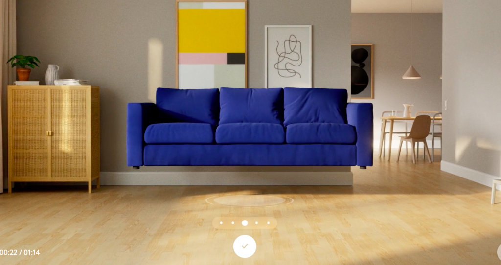 Use the IKEA Studio app to design a room -- this image pictures a floating blue couch in a living room