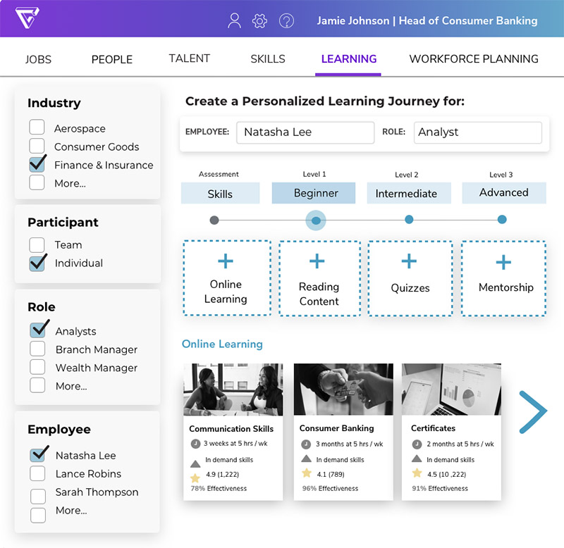 Screenshot of a software app showing what an interface might look like for creating a personalized learning journey for someone. You can select from industries, roles, employees, and more.