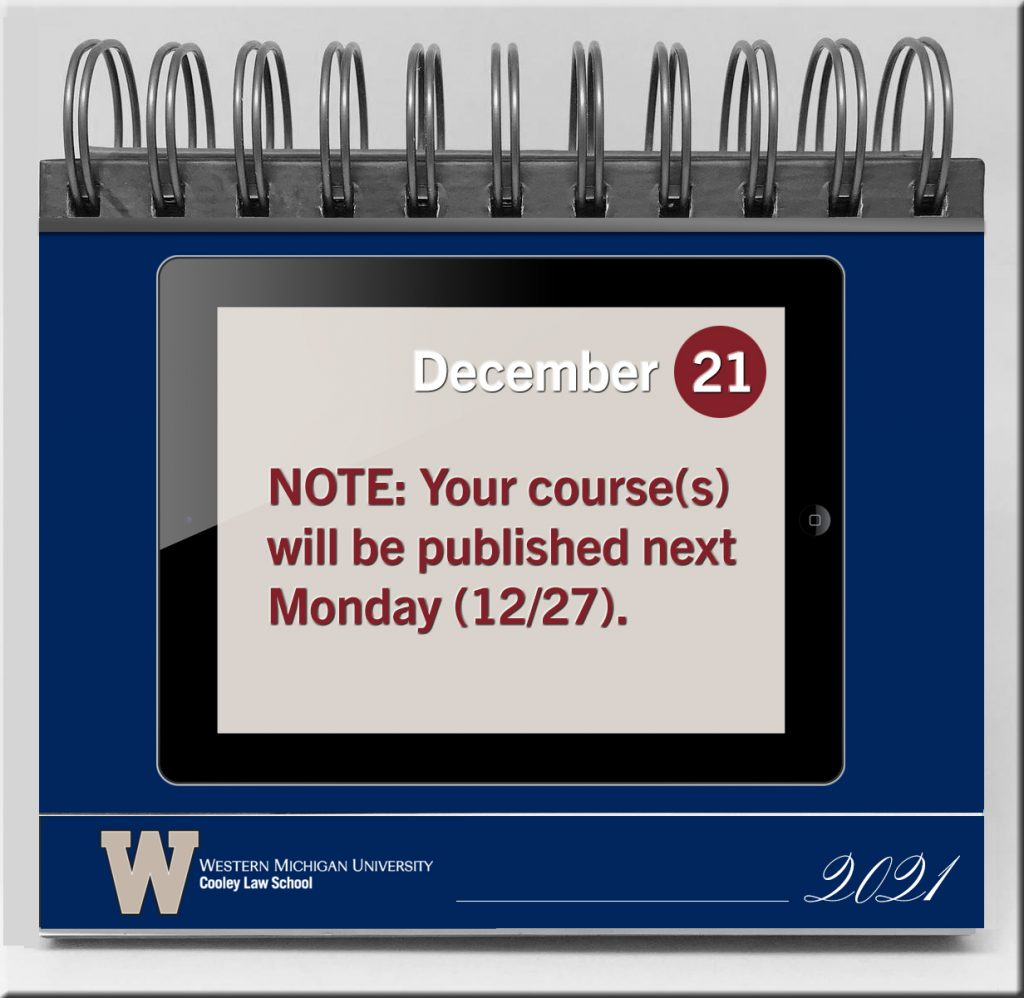 Example calendar page that states when courses will be published on an LMS