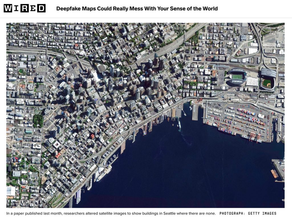 In a paper published last month, researchers altered satellite images to show buildings in Seattle where there are none.
