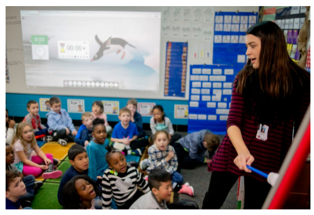 Kindergarten teacher Melissa Sanborn instructs students