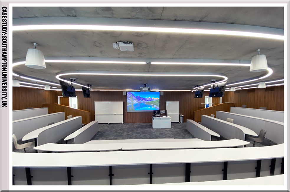 Sharp learning space full of AV equipment at Southampton University, UK