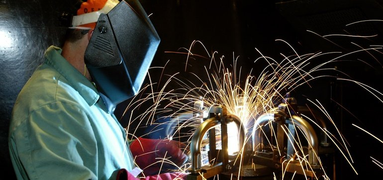 A person practicing their welding skills