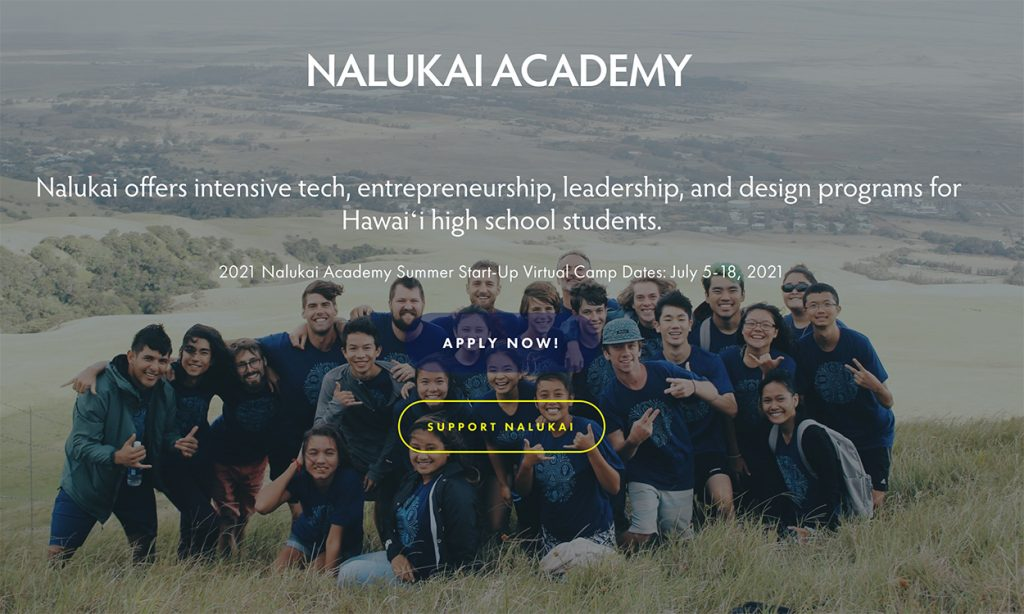 The Nalukai Academy offers intensive tech, entrepreneurship, leadership, and design programs for Hawai?i high school students. This image portrays some of those students.