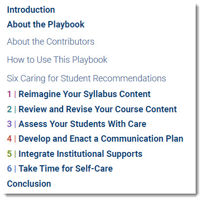 Caring for students playbook: six recommendations