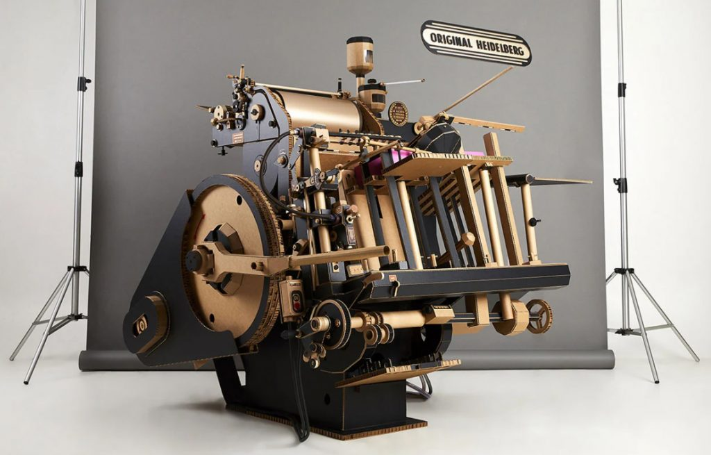 Korean artist Lee Ji-hee created this incredibly intricate papercraft replica of the original Heidelberg Letterpress. She made the sculpture from paper and corrugated cardboard.