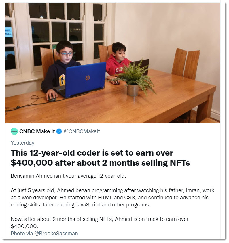 This 12-year-old coder is set to earn over $400,000 after about 2 months selling NFTs