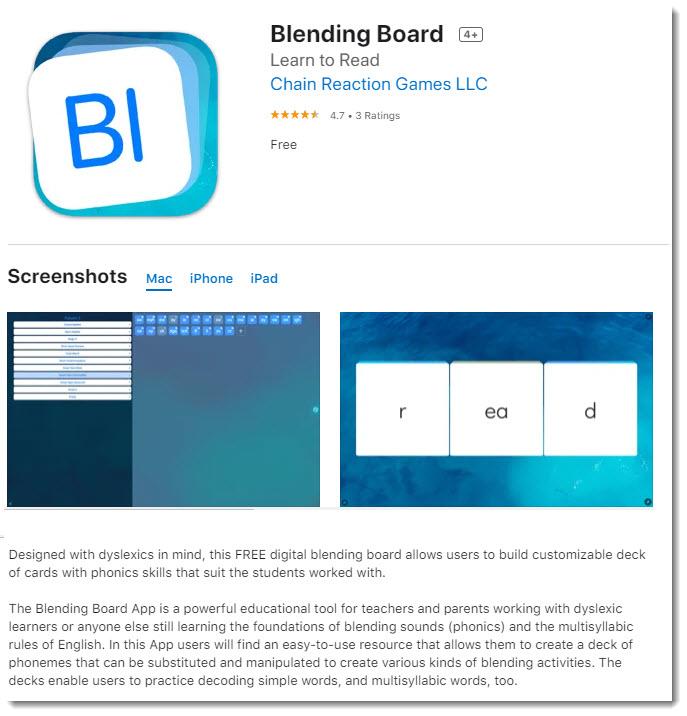 Screenshots of Blending Board