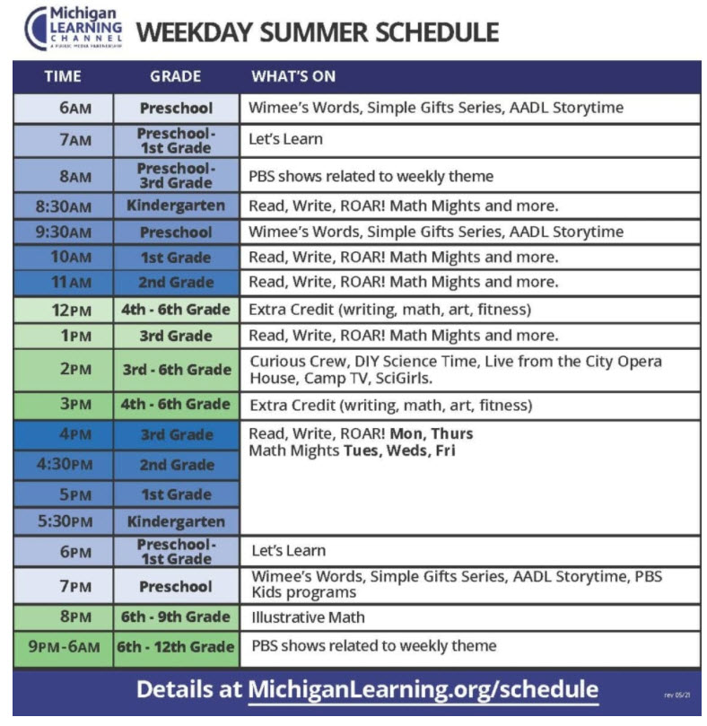 The weekday summer 2021 schedule for the Michigan Learning Channel