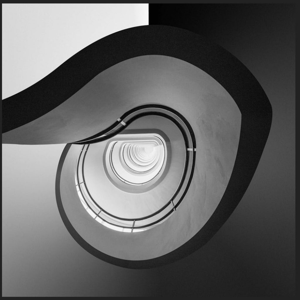 black and white photo of a stairway