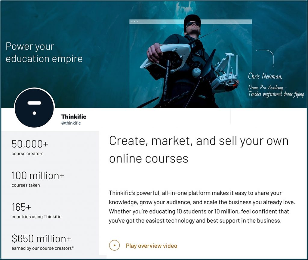 Thinkific.com -- another example of a learning platform