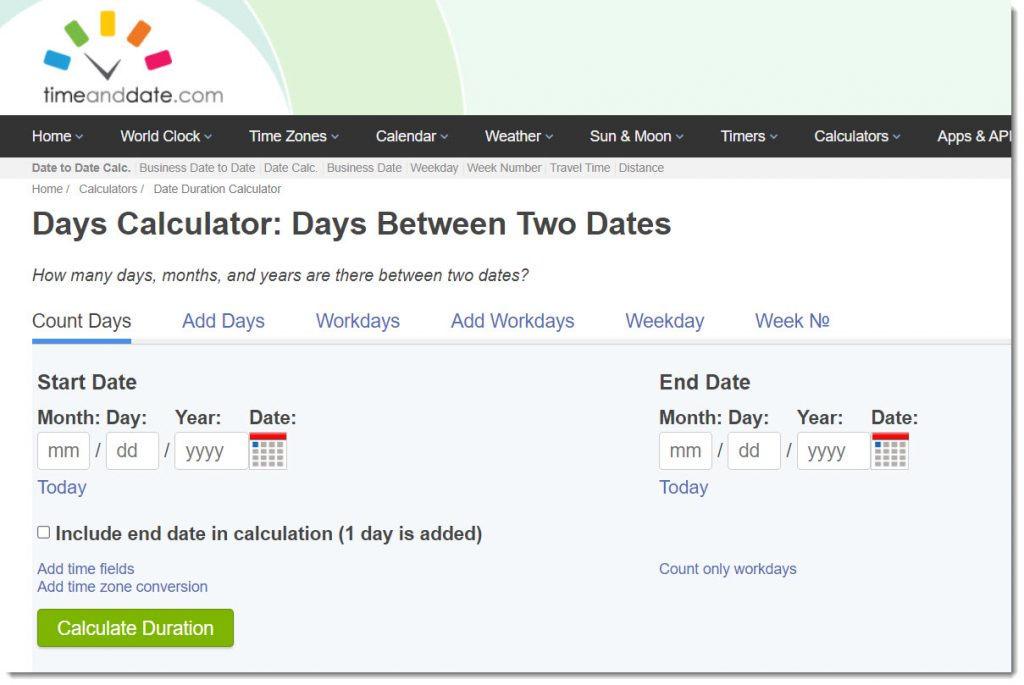 Days Calculator -- calculating days between two dates