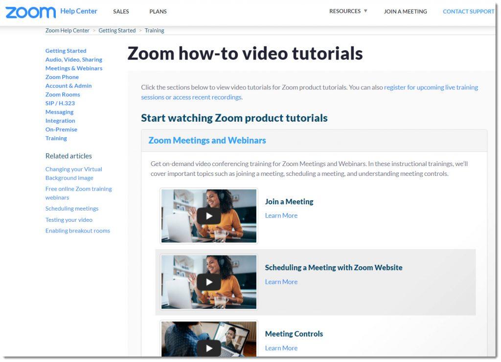 Zoom how-to-video tutorials