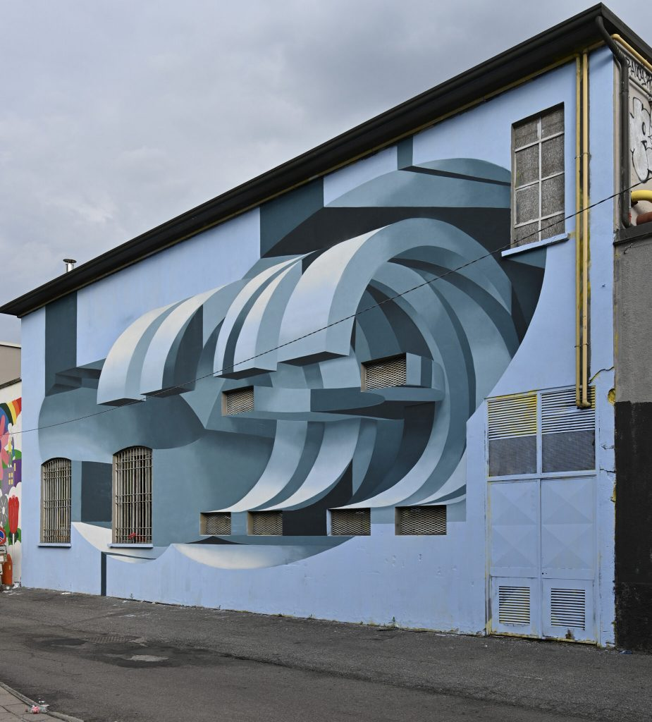 Geometric Shapes and Three-Dimensional Illusions Disrupt Existing Architecture in Peeta's Anamorphic Murals