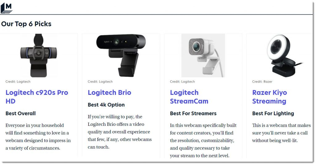 Best wecams to check out -- per Mashable.com in September 2021