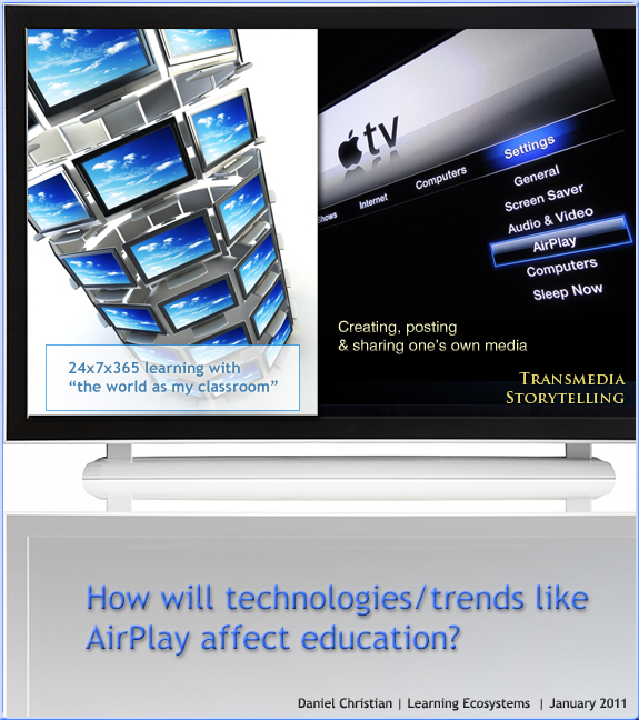 How will technologies like AirPlay affect education? I suggest 24x7x365 access on any device may be one way. By Daniel S. Christian at Learning Ecosystems blog-- 1-17-11.